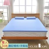 House Door 抗菌防螨布套 3cm記憶床墊超值組-雙人5尺(海洋藍)