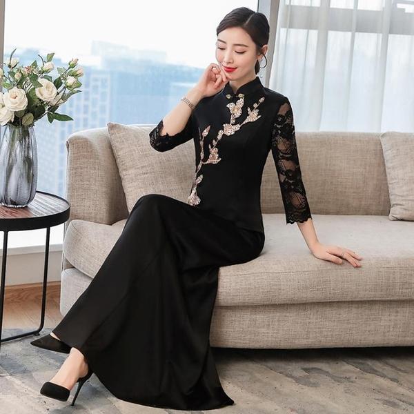 春夏演出旗袍長袖黑色長款走秀旗袍禮服 宴會祺袍女洋裝