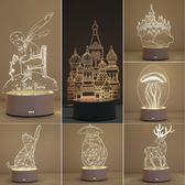 3D小夜燈插電臺燈臥室床頭燈創意夢幻浪漫迷你嬰兒喂奶節能感應燈【快速出貨全館免運】