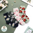 【正韓直送】韓國襪子 滿版手繪風花朵中筒...