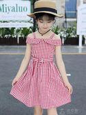 女童洋裝夏純棉新款韓版兒童夏裝格子裙中大童公主裙子洋氣  俏女孩