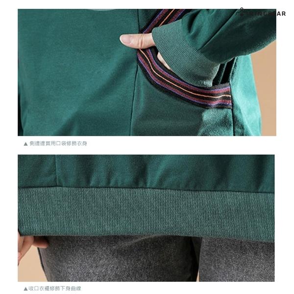 大學T--修身顯瘦兩側撞色條紋口袋拼接蝙蝠袖圓領長袖上衣(黑.綠M-3L)-X391眼圈熊中大尺碼◎