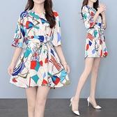 兩件套連身裙 時尚連衣裙短褲兩件套裝新款大碼女裝胖mm遮肚子V領綁帶收腰裙子 薇薇