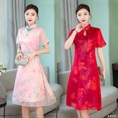 改良旗袍洋裝2019春夏新款綢緞中長款優雅修身時尚女裝 QG22560『東京衣社』