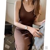 胖mm大碼修身顯瘦開叉吊帶裙胖針織背心裙中長款內搭打底洋裝秋 秋季新品