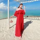 波希米亞長裙-荷葉邊一字領優雅氣質洋裝73sg76【巴黎精品】