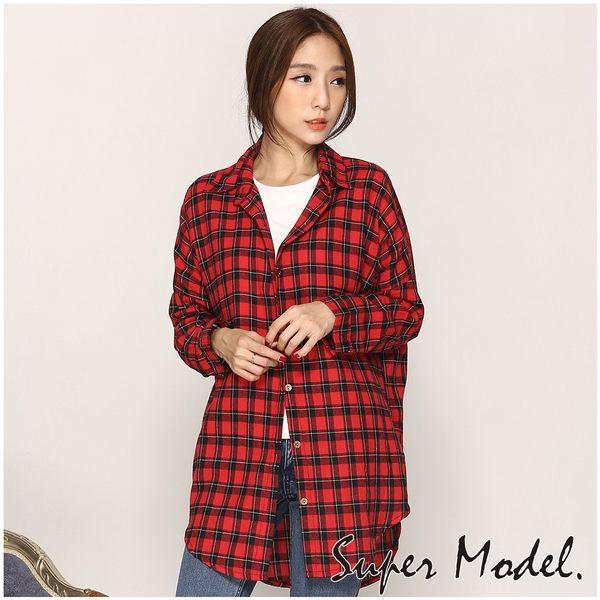 【名模衣櫃】法蘭絨長版襯衫-紅色(F可選)  33524