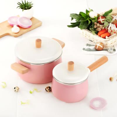 單柄琺瑯小牛奶鍋搪瓷陶瓷湯鍋不粘鍋寶寶輔食嬰兒迷妳小鍋熱奶鍋 晶彩生活