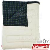 Coleman CM-33804_橄欖格紋 可拆式冒險者刷毛睡袋 適溫0度/露營化纖寢袋/午睡保暖被/懶人毯