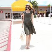 漂亮小媽咪 純色洋裝 【D6131Li】 超舒適 莫代爾 超柔軟 孕婦裝 孕婦洋裝 娃娃裝