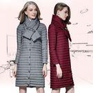 輕薄羽絨外套 韓版長款小立領領巾保暖顯瘦 4色 S-2XL #im6062❤卡樂store❤