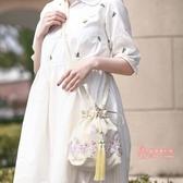 流蘇包 2019新款古風手工蕾絲布包日常漢服配飾包袋流蘇斜背手提女包 4色