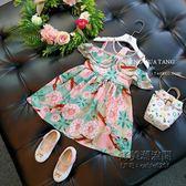 韓版女童時尚碎花露肩背心裙公主裙子中小童連身裙