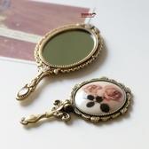 正韓金屬復古玫瑰花朵 隨身便攜可摺疊鏡手柄鏡 小號化妝鏡子 沸點奇跡