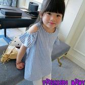 童裝 中長款條紋T恤裙 韓版露肩袖上衣百搭 Fashion Baby