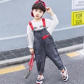 男童背帶褲套裝春秋季韓版洋氣秋款小童寶寶兒童男牛仔褲子秋裝潮