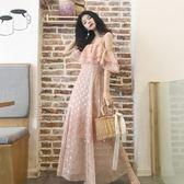 新款兩穿氣質名媛吊帶一字領設計感時尚chic風露肩燙金長款連衣裙   橙子精品