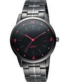 STAR 藝術時尚簡約風情腕錶-黑x紅時標 9T1407-231D-R