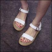 現貨+快速★羅馬厚底涼鞋學生魚嘴鬆糕平底女鞋★ifairies【23918】