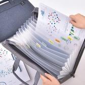得力男士商務布質風琴包公文袋學生用13格手提捲子分類收納盒文 町目家