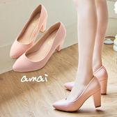 amai簡約素面小尖頭粗跟高跟鞋 粉
