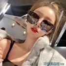墨鏡 方框灰色墨鏡女網紅街拍酷防紫外線大臉顯瘦韓版個性潮流太陽眼鏡 快速出貨