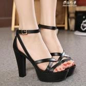 鞋超高跟防水臺粗跟涼鞋女韓版復古夏季黑色女鞋『618購物』