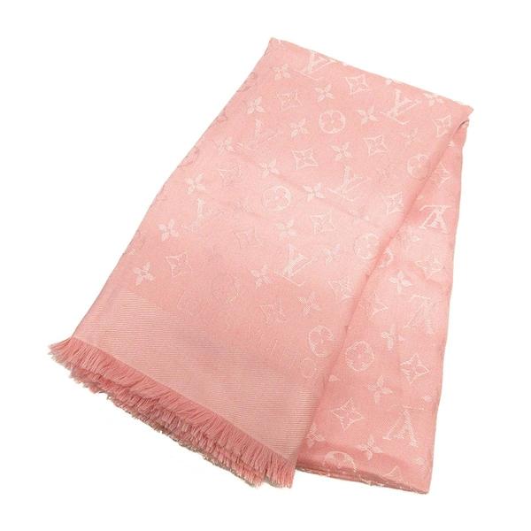 LOUIS VUITTON 路易威登 粉紅色羊毛混絲質方形大圍巾 披巾 Monogram Shawl BRAND OFF