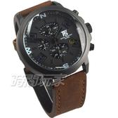 T5 sports time 粗曠個性型男 三眼計時男錶 計時碼錶 防水皮革手錶 日期視窗 黑 H3655咖