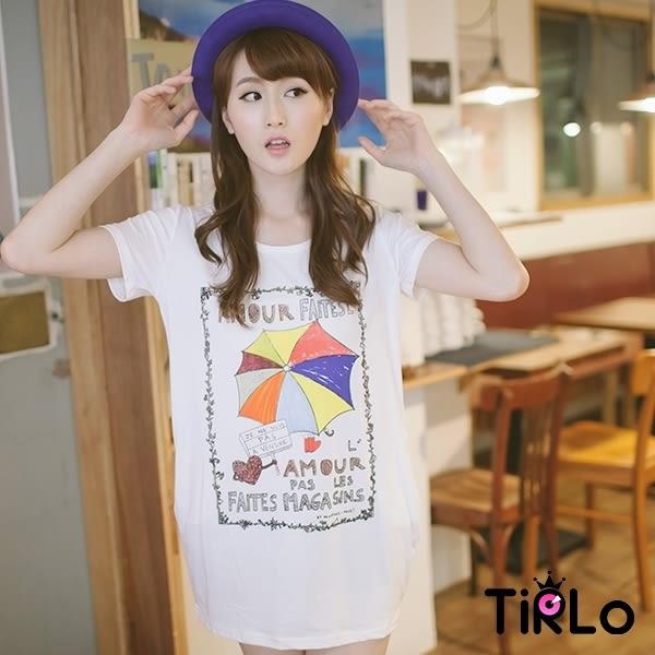 上衣-Tirlo-雨傘女孩圓領長版短袖T恤-2色
