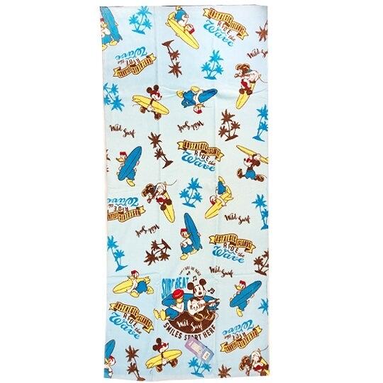 小禮堂 迪士尼 米奇 唐老鴨 浴巾 毛巾 純棉 割絨 70x140cm (藍白 衝浪板) 4548266-44525