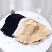 日系禁欲系毛邊牛仔漁夫帽女遮陽帽百搭帽子磨邊盆帽水洗布帽   mandyc衣間
