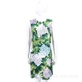 DOLCE & GABBANA Ortensia 滿版繡球花圖騰無袖絲質洋裝 1740028-08