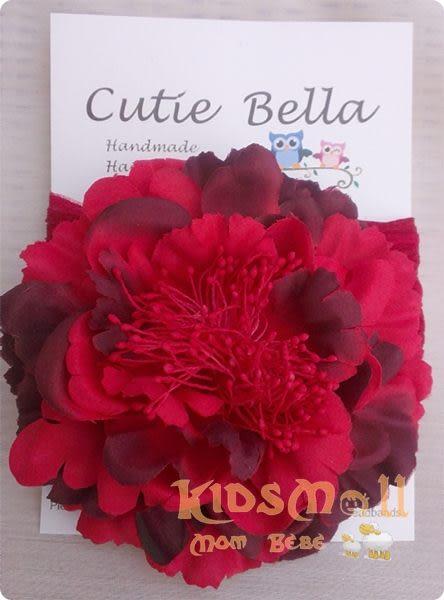 Cutie Bella彈性雪紡牡丹花髮帶-Red/Black