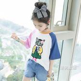 優惠兩天-短袖T恤女童短袖t恤夏裝2018新品正韓洋氣中大童棉質上衣繡花兒童半袖潮