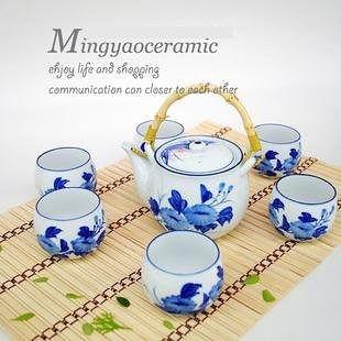 陶瓷茶具套裝青花 1壺6茶杯