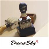 復古 日期 印章 滾輪 木頭 造型 創意 鄉村 木柄 手帳 日記 巴黎鐵塔 法國號 小物 DreamSky