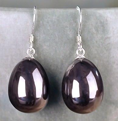[協貿國際]天然黑膽石水滴耳環925純銀耳勾單對價