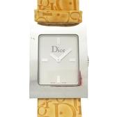 Dior 迪奧 橙色亮面Logo印花皮革帶石英腕錶 WATCH 【BRAND OFF】