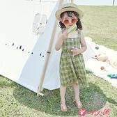 女童吊帶洋裝 女童格子吊帶裙韓版純棉洋氣小清新女寶寶連身裙兒童夏裝2021新款 小天使 99免運