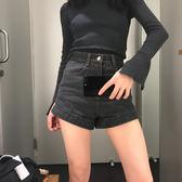 高腰修身捲邊牛仔短褲百搭顯瘦簡單熱褲女學生闊腿短褲    琉璃美衣