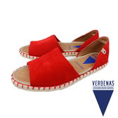 【VERBENAS】Carol牛皮絨面革露趾草編鞋/涼拖鞋 紅色(030067-RE)