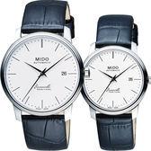 MIDO 美度 Baroncelli III Heritage 復刻經典機械對錶/情侶手錶-41+32mm M0274071601000+M027207160100