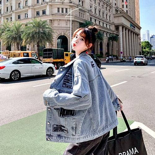 克妹Ke-Mei【AT61929】PALA歐美龐克字母多徽章立領排釦牛仔外套