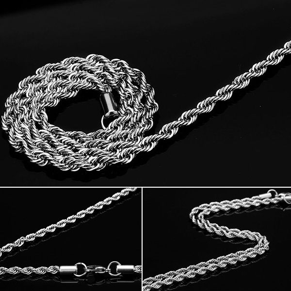《 QBOX 》FASHION 飾品【N100BN1007】精緻個性麻花繩鈦鋼項鍊子/鋼鍊條(0.3/0.4cm)