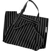 黑白條紋圍裙美式簡約創意廚房圍裙時尚家用加厚口袋純棉圍裙 小確幸生活館