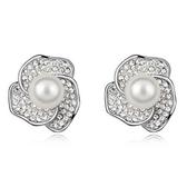 珍珠耳環 925純銀耳針式-鑲鑽花朵生日情人節禮物女飾品3色73bd202【時尚巴黎】