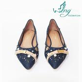 【WENG COLLECTION】Orbit Stone丹寧金屬扣飾尖頭平底鞋 深藍