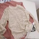 蕾絲上衣秋季韓版時尚氣質純色半高圓領鉤花鏤空打底蕾絲衫上衣女特賣