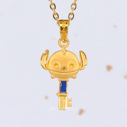 迪士尼系列金飾-黃金墜子-心鎖史迪奇(加贈金色鋼鍊)